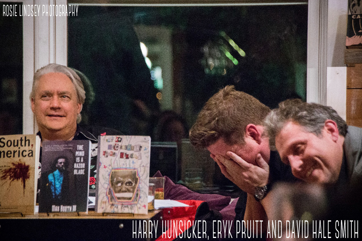 Harry Hunsicker, Eryk Pruitt and David Hale Smith at Noir at the Bar Dallas 2015, Rosie Lindsey Photography